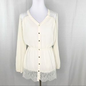 Charming Charlie cream tunic top lace details